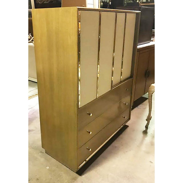 Harvey Probber Bleached Mahogany & Ivory Leather Tall Cabinet For Sale - Image 12 of 12