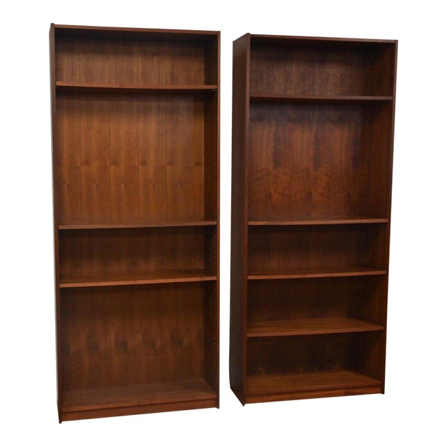 Large Walnut Bookcases- A Pair For Sale