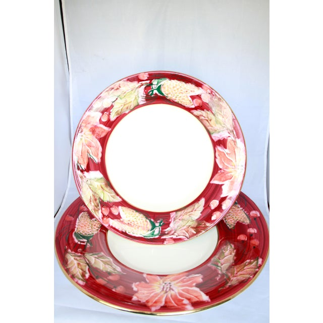 This very large and fabulous oversized poinsettia design signed Italian serving bowl and round underplate cannot be...