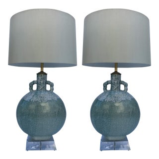 Pair of Crackle Glazed Ceramic Table Lamps For Sale