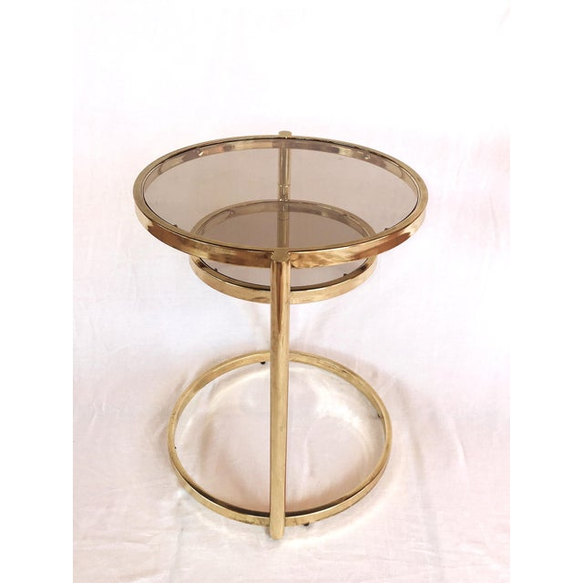 1970s Hollywood Regency Brass and Smoked Glass Swivel Side Table by Dia, 1970's For Sale - Image 5 of 13