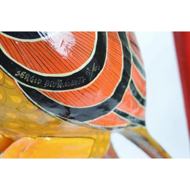 Paper Vintage Sergio Bustamante Limited Edition Paper Mache Tropical Bird Sculpture For Sale - Image 7 of 8