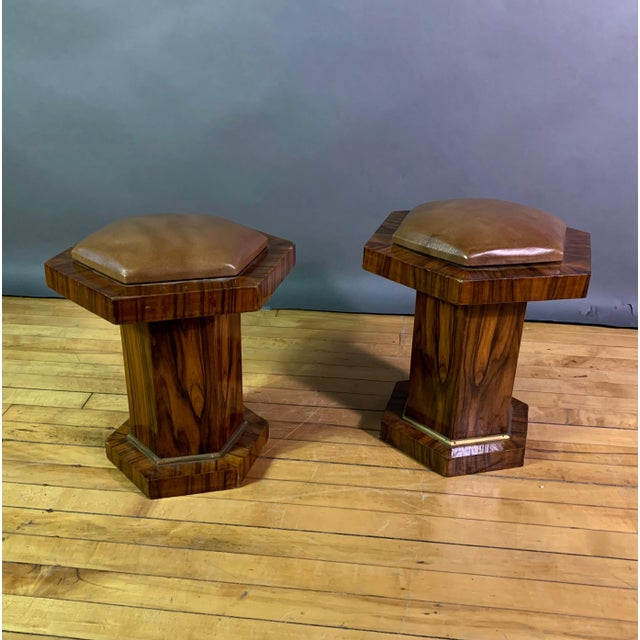 Pair Hexagonal Rosewood and Brass Stool, France 1960s For Sale - Image 11 of 11