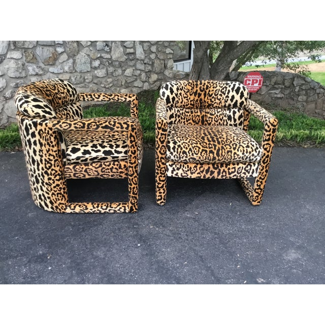 Boho Chic 1960s Drexel Parsons Chairs in Cheetah Velvet - a Pair For Sale - Image 3 of 6