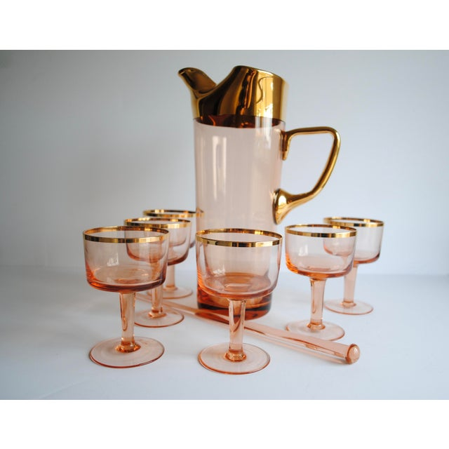 Mid-Century Pink & Gold Cocktail Glasses - Set of 8 - Image 2 of 7