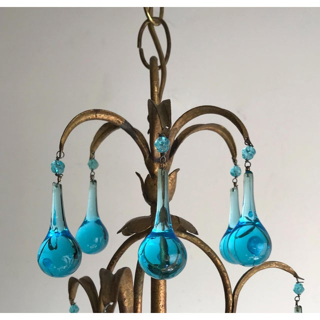 Italian Vintage Gilt Iron Chandelier With Aqua Drops For Sale - Image 4 of 6