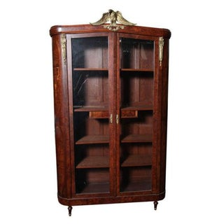 19thc French Gilt & Wood Inlay Armoire For Sale