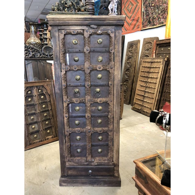 Shabby Chic Antique Rustic Primitive Doors Storage Cabinet For Sale - Image 3 of 7