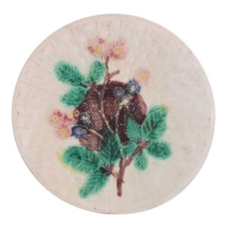 Antique French Majolica Floral Plate For Sale