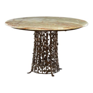 Italian Center Table With Brass Base of Leaves and Onyx Top For Sale