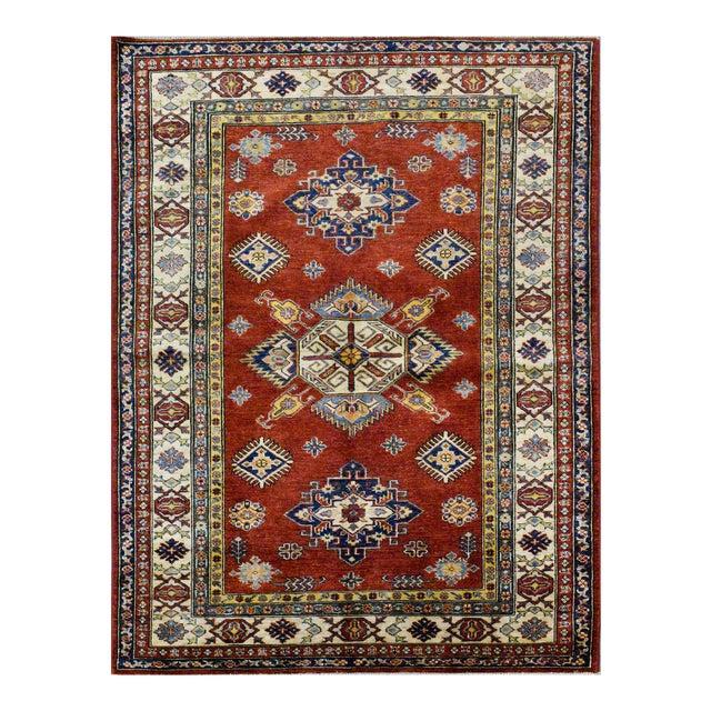 Afghan Kazak Wool Rug - 4'x6'2'' For Sale