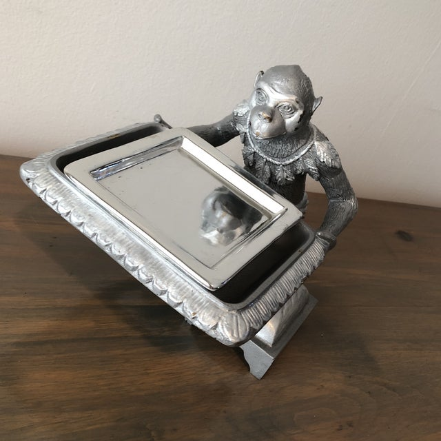 Art Deco 1970s Art Deco Silver Monkey Business Card Holder/Tray For Sale - Image 3 of 6