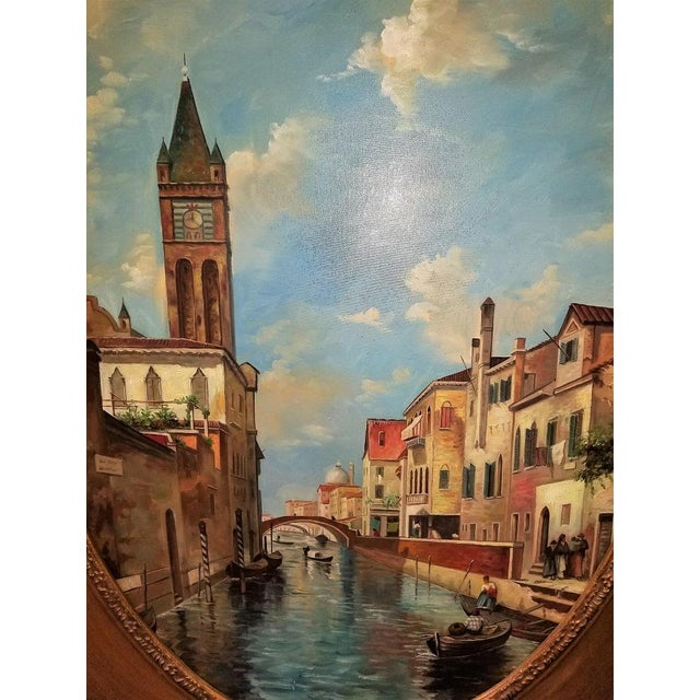 Oil on Canvas of Venetian Scene in Ornate Giltwood Frame For Sale - Image 4 of 12