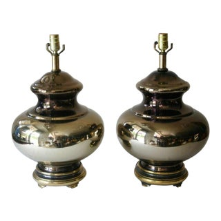 Hollywood Regency Mercury Glass Lamps - a Pair For Sale