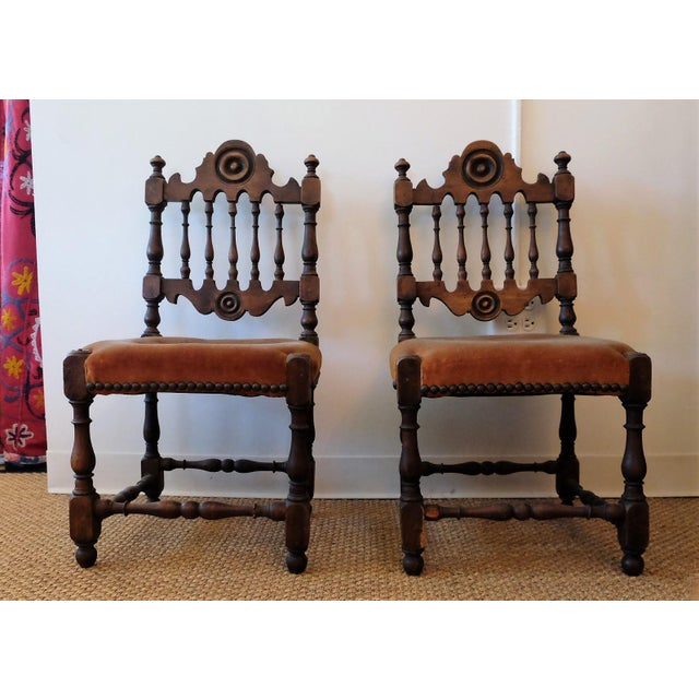 Antique Slipper or Children's Chairs from Mary Rockwell Hook (who was a  distinguished architect in - Antique Children's Chairs, Upholstered In Vintage Fabric - A Pair