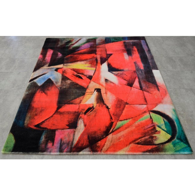 """Franz Marc """"Foxes"""" Inspired Area Rug - 4′10″ x 5′9″ For Sale - Image 4 of 10"""