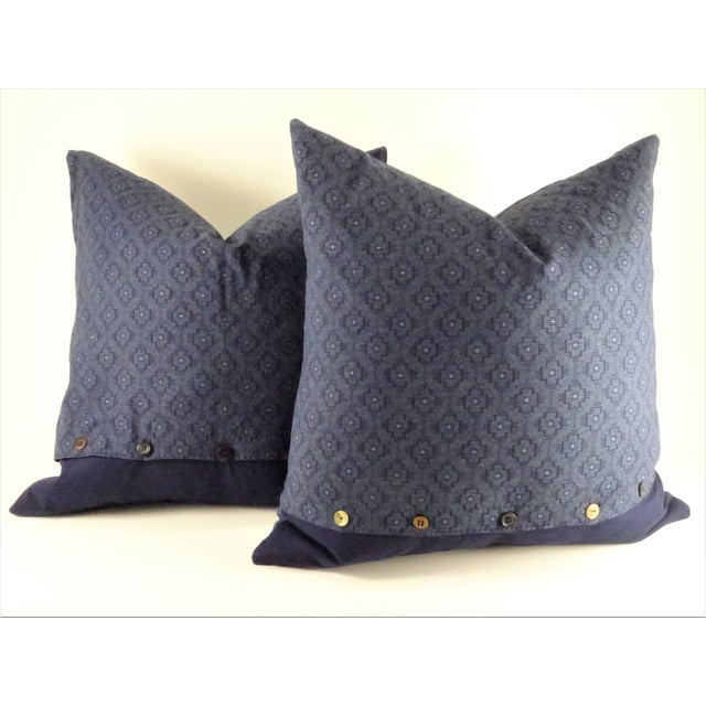 Asian Style Indigo Tie Die Hand Made Pillows - a Pair For Sale In Seattle - Image 6 of 10