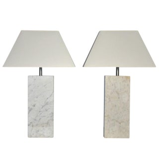 Pair of Marble Lamps by Nessen For Sale