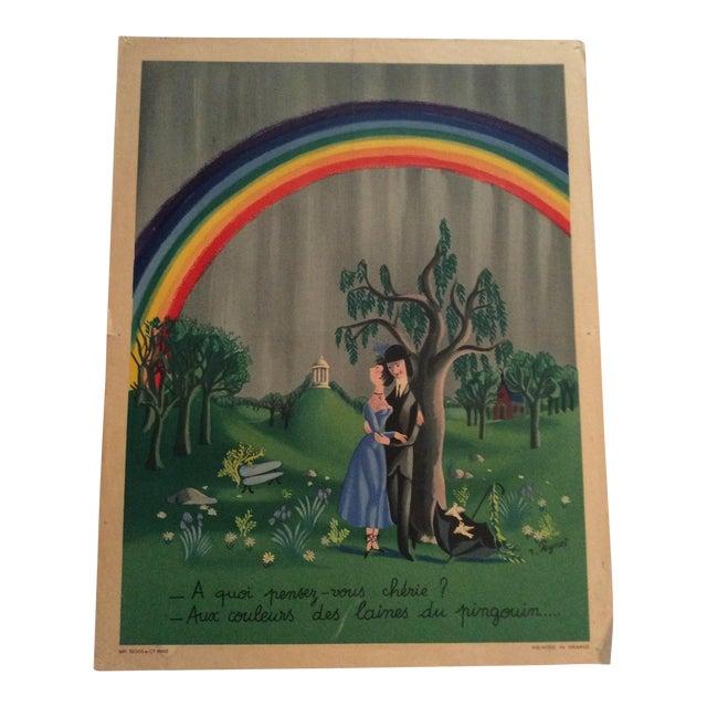 "Raymond Peynet Original Lithograph ""The Lovers, the Tree, the Rainbow"" For Sale"