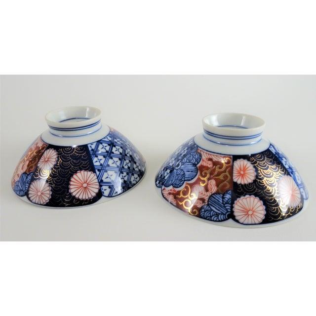 Imari Porcelain Chinoiserie Imari Porcelain Rice Bowls - a Pair For Sale - Image 4 of 12
