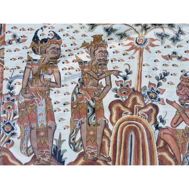 1920s Burmese Painted Mythical Mural For Sale - Image 5 of 10