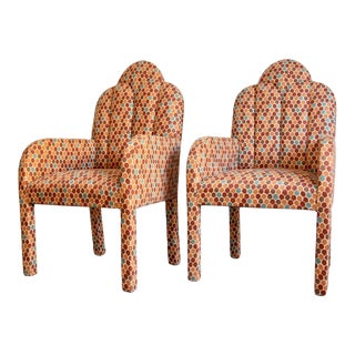 Scalloped Postmodern Armchairs- A Pair For Sale
