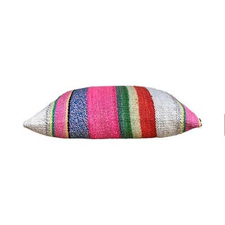 Kim Salmela Boho Chic Peruvian Striped Kilim Lumbar Pillow Preview