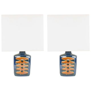 Einar Johansen Ceramic Table Lamps for Soholm Stentj of Denmark - a Pair For Sale