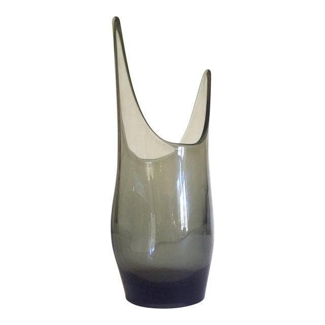 Vintage 1959 Mid Century Modern Rare Smoke Gray Elmer Miller Hand Blown Viking Art Glass Vase For Sale