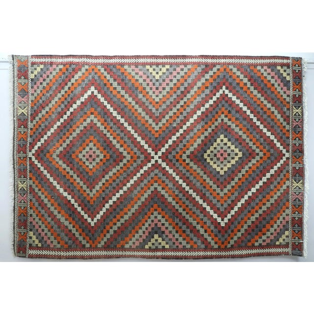 "Vintage Turkish Kilim Rug-6'4'x9'2"" For Sale - Image 13 of 13"