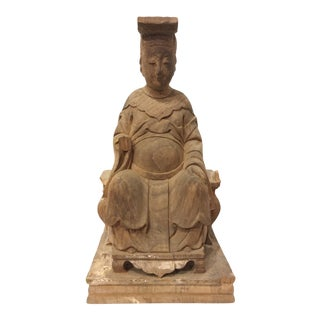 1940s Raw Carved Wood Taiwanese Deity Statue For Sale