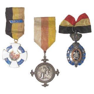 Lourdes Pilgrimmage & Military Medals, S/3 For Sale