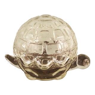 Vintage Anchor Hocking Glass Turtle Trinket Box For Sale