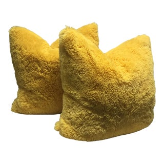 Cuddle Shag Pillows with Feather/Down Inserts - a Pair For Sale
