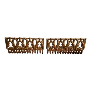 Late 19th Century American Victorian Gilded Cast Iron Fireplace Grate Insert Log Holders - a Pair For Sale