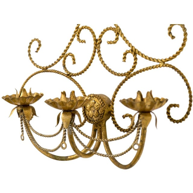 Italian Gilded Tole 3-Candle Wall Sconce For Sale - Image 4 of 6