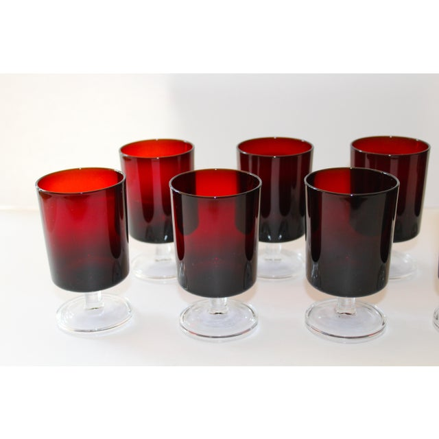 Red Set of 8 Mid-Century Modern Crystal Wine Glasses in Red, 1960's For Sale - Image 8 of 13