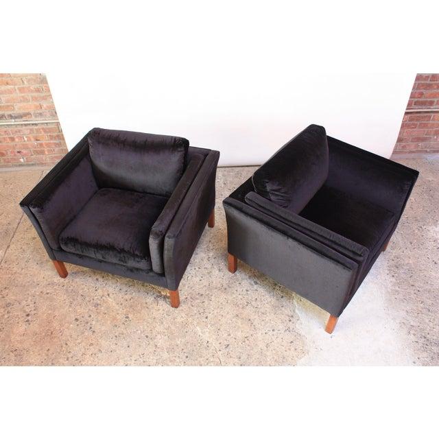 Pair of Danish Mogens Hansen Velvet Lounge Chairs - Image 2 of 10