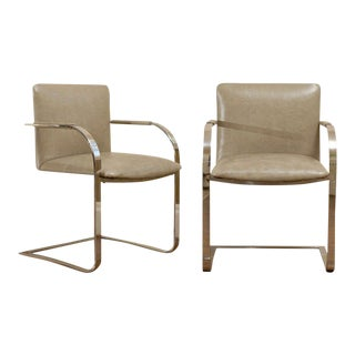 Pair of Milo Baughman Flat Bar Armchairs in Leather For Sale