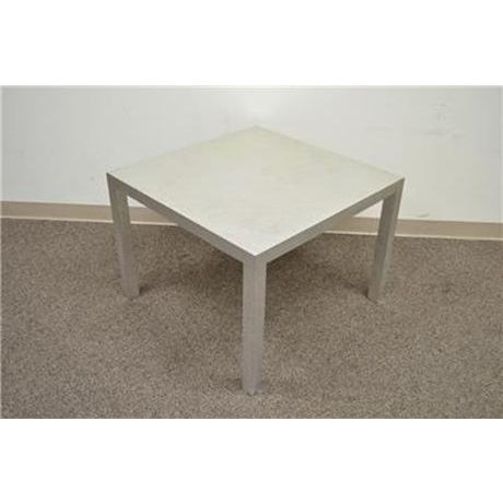Vintage Mid Century Modern Silver Square Parsons Coffee Side Occasional Table - Image 6 of 12