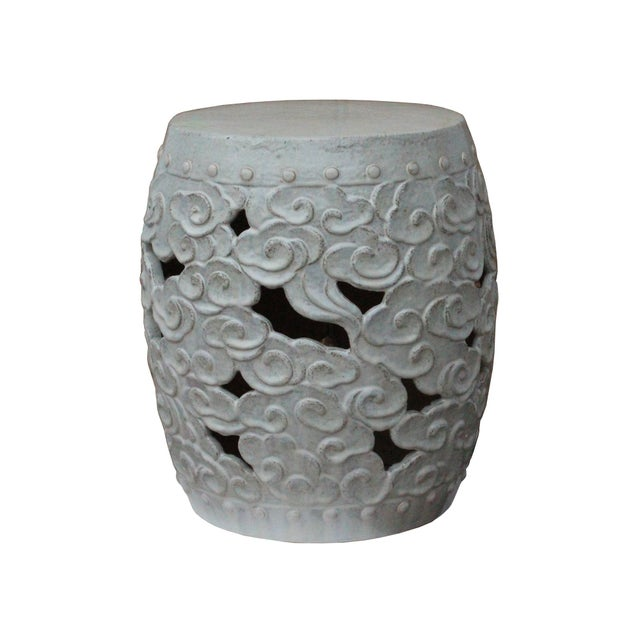 Ceramic Clay Off White Glaze Round Scroll Pattern Garden Stool For Sale - Image 4 of 8