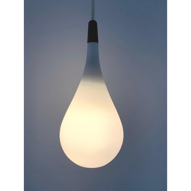 Mid-Century Modern Vintage 1960s Holmegaard, Denmark Satin Glass + Teak Pendant Lamp For Sale - Image 3 of 4