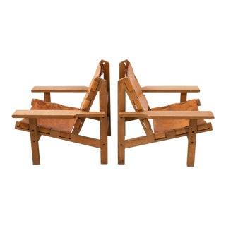 Pair of Kurt Ostervig Hunting Chairs in Oak and Leather, Denmark 1960s For Sale