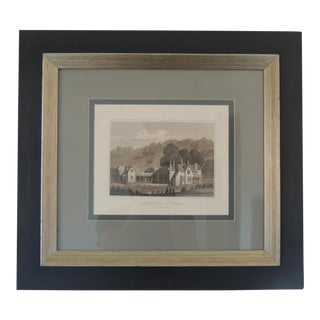 English Manors Engraving Reproduction in Black & White Framed #2 For Sale