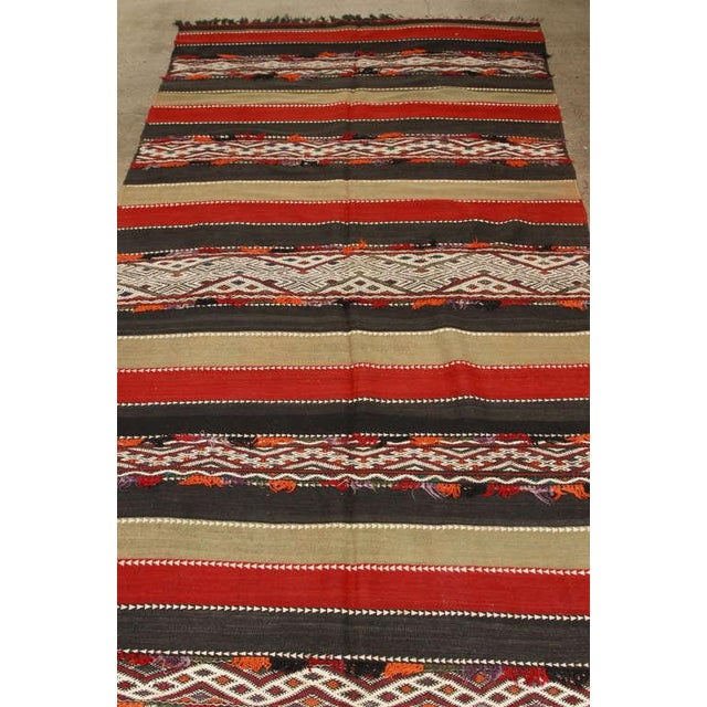 Berber Tribes of Morocco Vintage Moroccan Tribal Kilim Rug North Africa For Sale - Image 4 of 10