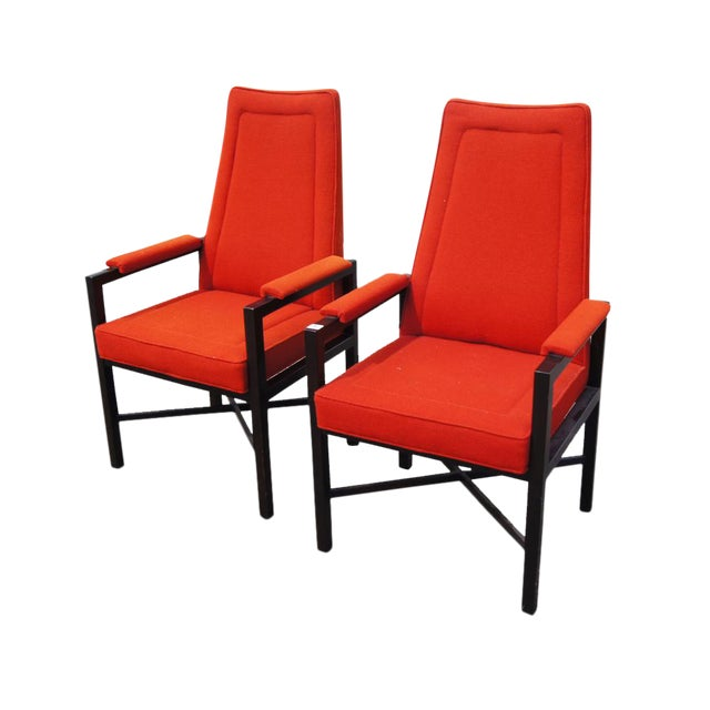 Vintage Red Edward Wormley Dunbar Chairs - A Pair For Sale