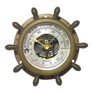 Small Brass Nautical Ships Barometer For Sale