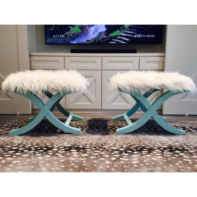 Aqua/Teal X-Benches with Faux-Mongolian Fur - Pair - Image 2 of 9