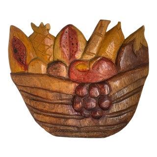 Folk Art Carved Wood Fruit Basket Art For Sale
