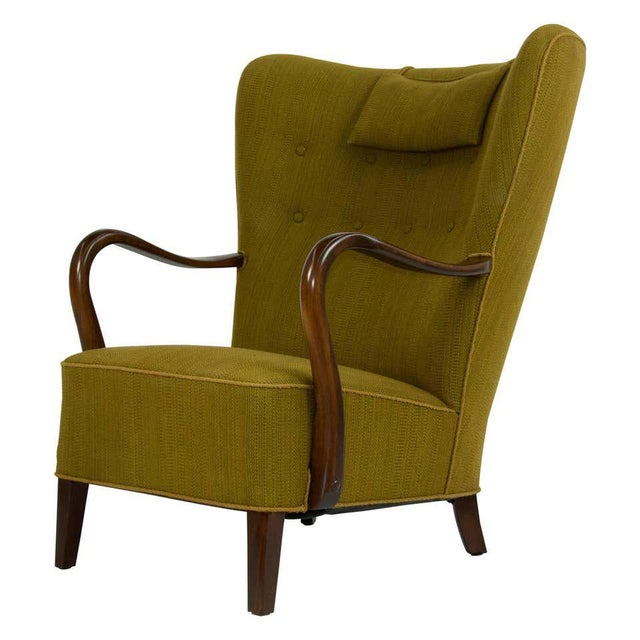 Green 1940s Danish Lounge Chair by Alfred Christensen For Sale - Image 8 of 8